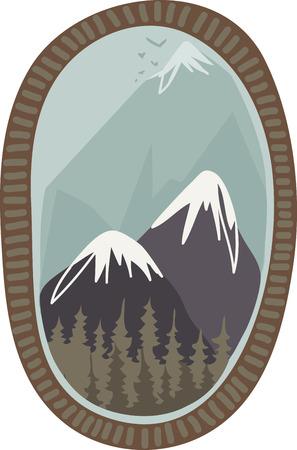 Les montagnes sont de beaux endroits à visiter. Ajoutez cette conception à une chemise ou un chapeau pour se rappeler vos vacances. Banque d'images - 43333032