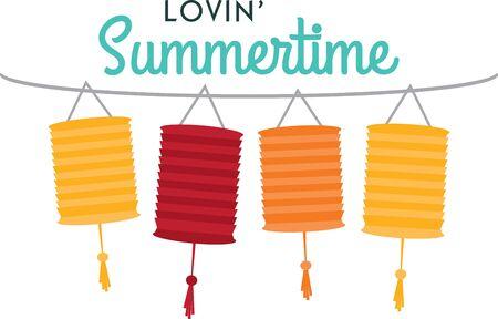 Celebrate summer with colorful lanterns. Çizim