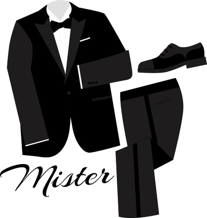 dinner jacket: Honor your special occasion and make good memories better with this design on framed embroidery, throw pillow and gifts for the newlyweds! Illustration