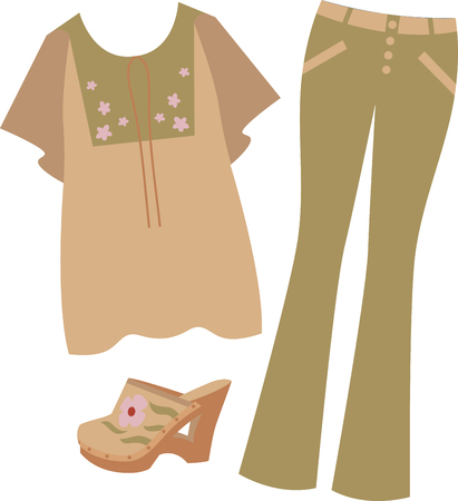 Rock the hippie look in flares, jazzy prints denim and clogs with this design on gifts for friends or family who are hopelessly retro!