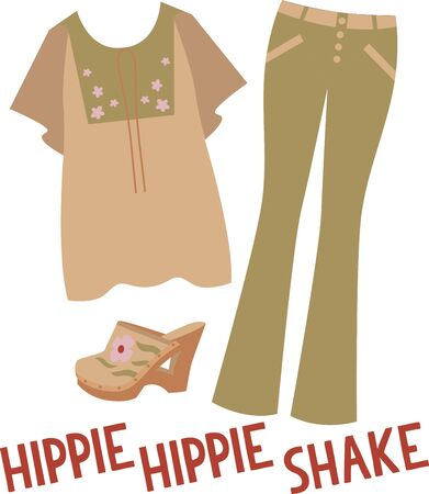 clogs: Rock the hippie look in flares, jazzy prints denim and clogs with this design on gifts for friends or family who are hopelessly retro!