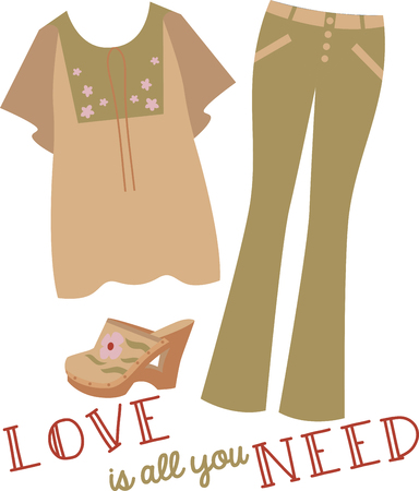 jazzy: Rock the hippie look in flares, jazzy prints denim and clogs with this design on gifts for friends or family who are hopelessly retro!