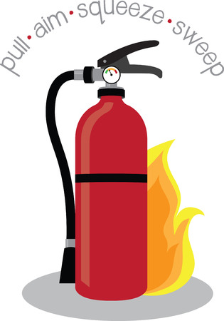 extinguish: Teach the importance of fire safety to children at schools with this design on banners and framed embroidery! Illustration