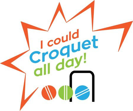 Looking for the perfect Birthday or Christmas gift Embroider this design on clothes, towels, pillows, gym bags, quilts, t-shirts, jackets or wall hangings for your croquet enthusiast!