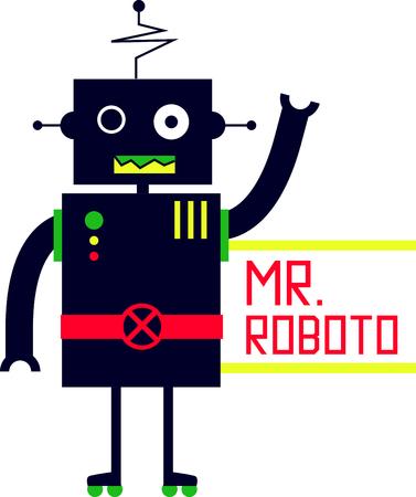 Questo piccolo cute disegno sarà perfetto per il vostro piccolo amante robot su t-shirt, felpe, cappelli, warm-up e molto altro ancora! Archivio Fotografico - 48830812