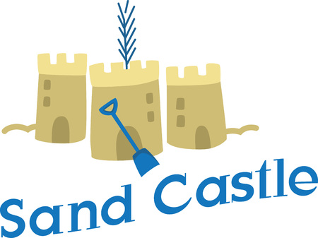 Large sand pails equal hours of fun at the beach building sand castles! This design is perfect on beach bags, towels, t-shirts and more!