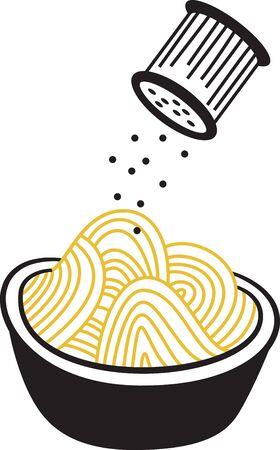 Pasta est le fondement de prédilection pour un repas de famille. Obtenez cette conception délicieuse sur des serviettes, tabliers, et des chemises pour le cadeau parfait. Banque d'images - 48831009