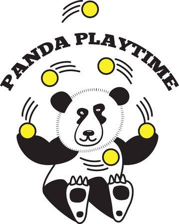 juggle: What child doesnt love a cuddly panda! These adorable pandas will look great on bodysuits, layettes, baby t-shirts, hats, bibs  more! Illustration