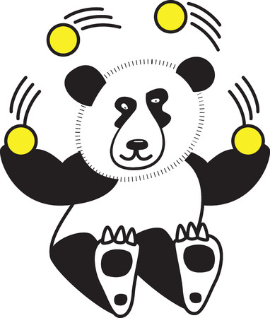 What child doesnt love a cuddly panda! These adorable pandas will look great on bodysuits, layettes, baby t-shirts, hats, bibs  more! Ilustração