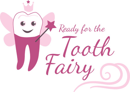 faery: Keep the magic of tooth fairy fun and simple, with this design on pillows for boys and girls! Illustration