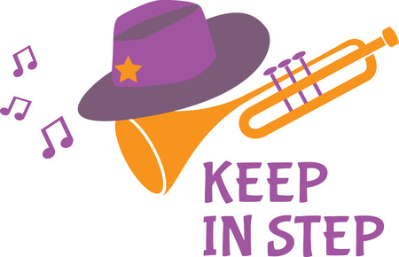 Embroider this design on the sleeves of band shirts to show the instruments your kids play in marching band!