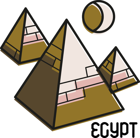 egyptian culture: This quick-stitching design features the famous tourist site in Egypt! Make a great keepsake with this design on t-shirts, jackets, sweatshirts, hats and more.