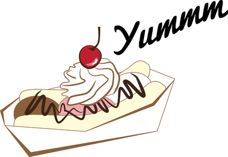 Banana split is the best, most refreshing desert ever!  Get this appetizing design on kitchen linen, chef coats, apron, hats and more.