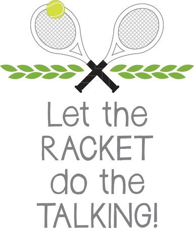 Game, Set Partita! Questo disegno è perfetto su abbigliamento, cappelli, borse da palestra e altri accessori per i vostri appassionati di tennis! Archivio Fotografico - 52209112