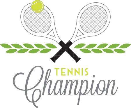 Game, Set Partita! Questo disegno è perfetto su abbigliamento, cappelli, borse da palestra e altri accessori per i vostri appassionati di tennis! Archivio Fotografico - 52209113