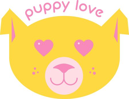puppy love: This design is sure to warm the hearts of dog lovers and will be adorable on sweatshirts, dog jackets, totes and more. Illustration