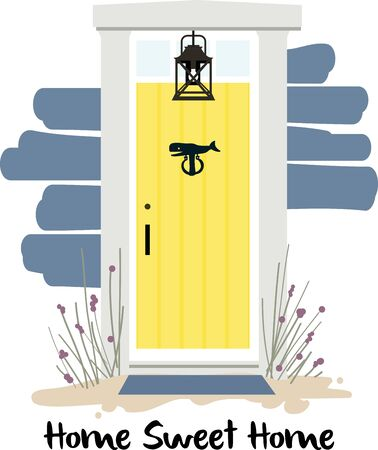 What a heart warming beach house front door.  This design would be gorgeous on a beach towel or tote.