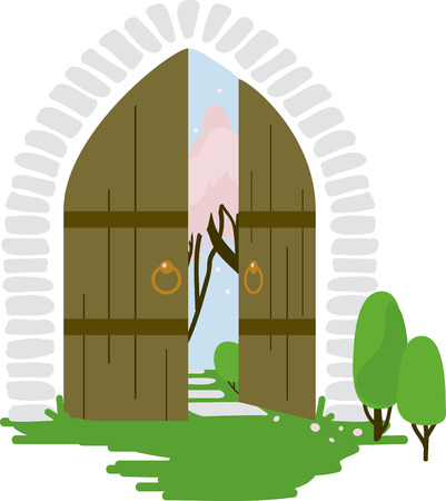 The secret garden gate never looked so inviting!  Use this on a pillow, home decor or a little girl's blanket. Illustration