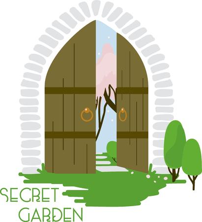 De geheime tuin poort zag er nog nooit zo uitnodigend! Gebruik deze op een kussen, woondecoratie of deken van een klein meisje. Stock Illustratie