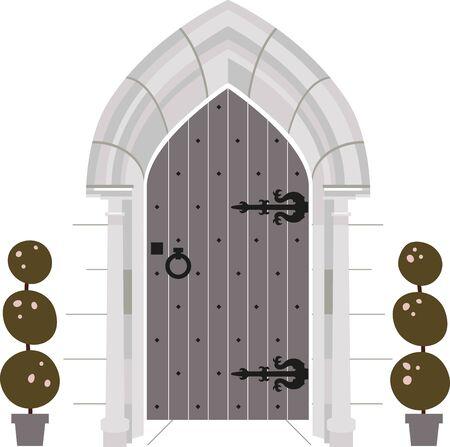 La reina del castillo amará esta versión moderna de la puerta del castillo. Usarlo en una servilleta o toalla de cocina.