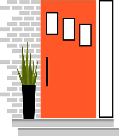 This modern front door design will look amazing on a tote or towels for the interior designer. Ilustração