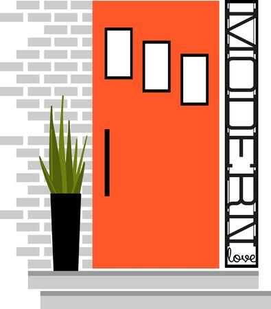 Dit moderne voordeur ontwerp er geweldig uit op een toto of handdoeken voor het interieur ontwerper. Stock Illustratie