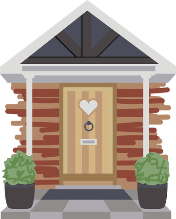 country kitchen: This country cottage front door design will warm your heart.  Add this to a kitchen towel or napkin.
