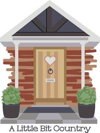 Deze landelijke vakantiewoning voordeur ontwerp zal uw hart te verwarmen. Voeg dit aan een theedoek of servet. Stock Illustratie