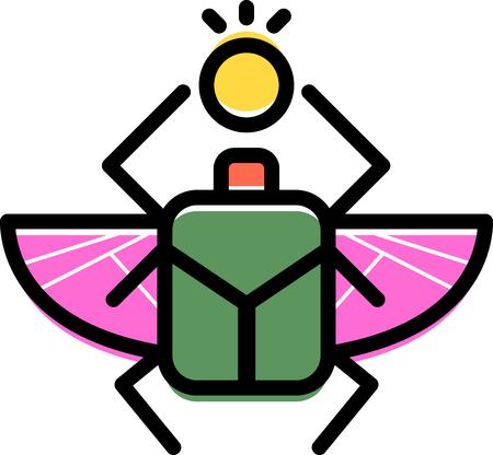 El escarabajo es un símbolo de la eternidad! Este diseño es perfecto cultura africana en el bordado enmarcado, cojines y mucho más! Foto de archivo - 51334529