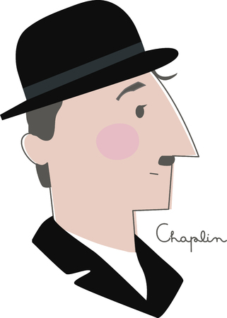 A great design for the Charlie Chaplin  fans out there!  Get your awesome design on clothing, framed embroidery and more! Ilustração