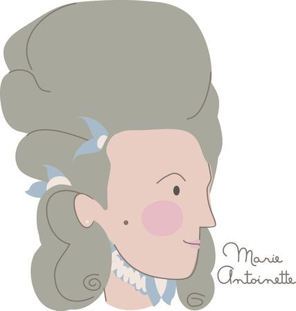 学校のプロジェクトにこのデザインでフランス革命を担当したフランスの悪名高い女王の巨大な肖像画からインスピレーションを描く!  イラスト・ベクター素材