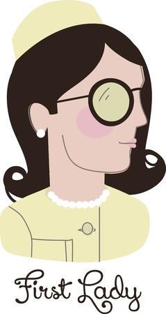 Jackie O was an inimitable style icon who inspired millions with her chic.  This design is great on gifts, clothing and more for the fans of this First Lady!