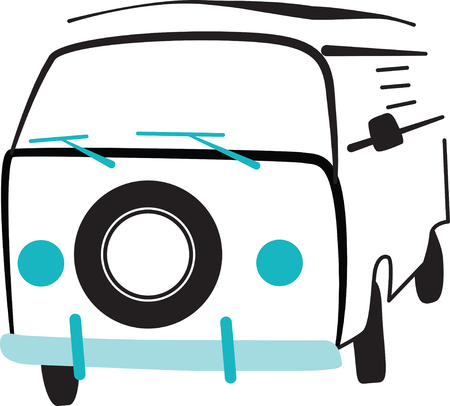 vw: Add to the arsenal of trucks for your vehicle lovers, with this design on t-shirts, kids room decor and more. Illustration