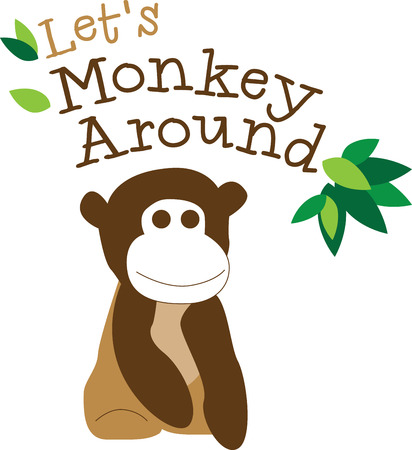 mischief: This little primate is full of curiosity, adventure and mischief and ready to jump on to bodysuits, layettes, diaper covers, baby t-shirts, hats, bibs  more!