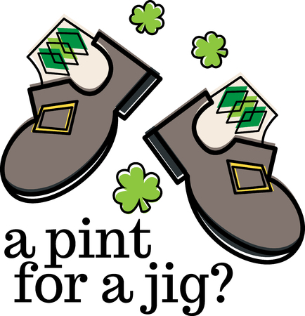 jig: Shine your dancing shoes to get ready for some fast paced Irish jig!  - Make St. Patricks Day festive with this design on tees, totes, aprons, pillows, kitchen towels, and more!