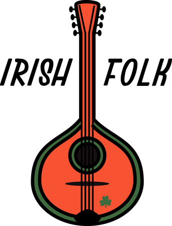 paddy: Strum along and explore the magic of the beautiful Celtic mandolin design on your on tees, totes, aprons, pillows, kitchen towels, and other St. Patricks Day projects!