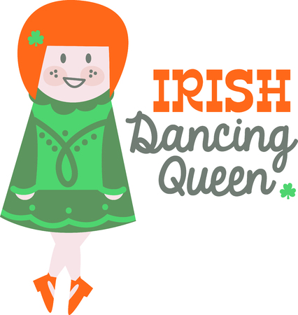 irish woman: Shine your dancing shoes to get ready for some fast paced Irish jig!  Make St. Patricks Day festive with this design on tees, totes, aprons, pillows, kitchen towels and more! Illustration
