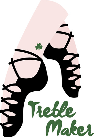 jig: Shine your dancing shoes to get ready for some fast paced Irish jig!  - Make St. Patricks Day festive with this design on tees, totes, aprons, pillows, kitchen towels and more! Illustration