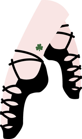 Shine your dancing shoes to get ready for some fast paced Irish jig!  - Make St. Patricks Day festive with this design on tees, totes, aprons, pillows, kitchen towels and more! Illusztráció
