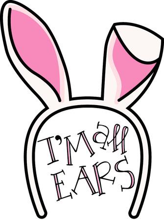 cintillos: Ponga la linda en los niños del bordado con el motivo de la popular orejas de conejo en monos, canastillas, camisetas, sombreros, baberos más de Pascua! Vectores