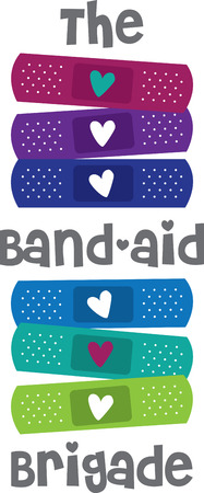 This design is ideal for those who are accident-prone!  Cheer the wounded with this design on plain scrubs, first-aid kits, wash cloths, ice-packs and more.