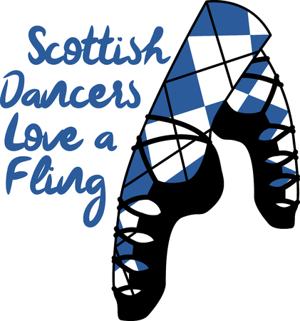 Dancing is a strong aspect of Scotland's culture.  Enjoy the wonderful and expressive art form with this design on framed embroidery, clothing and more! Ilustração