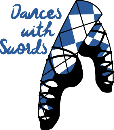 Dancing is a strong aspect of Scotland's culture.  Enjoy the wonderful and expressive art form with this design on framed embroidery, clothing and more! Illustration