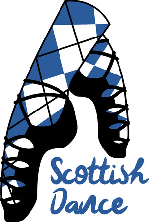 Dancing is a strong aspect of Scotland's culture.  Enjoy the wonderful and expressive art form with this design on framed embroidery, clothing and more! Ilustrace