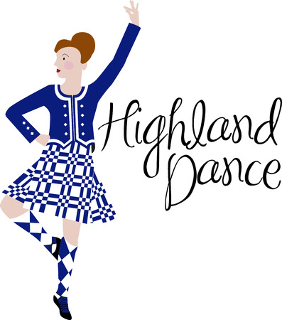 Dancing is a strong aspect of Scotland's culture.  Enjoy the wonderful and expressive art form with this design on framed embroidery, clothing and more! 向量圖像