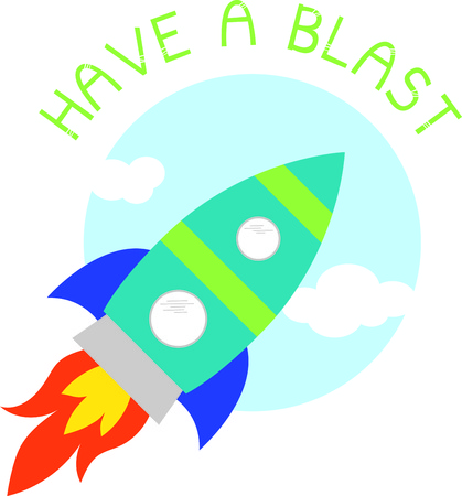 blast off: Up, up and away! Blast off!  This cute design will be perfect for your little astronaut on t-shirts, hoodies, hats, warm-ups and more!