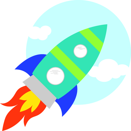 Up, up and away! Blast off!  This cute design will be perfect for your little astronaut on t-shirts, hoodies, hats, warm-ups and more!