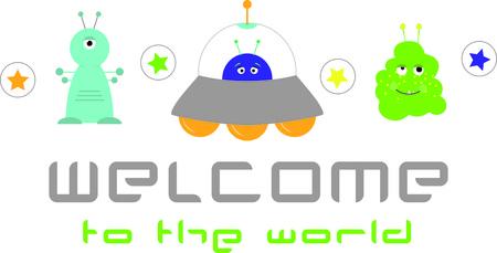 エイリアンは、子供たちの間で人気があります。 よだれかけ、シャツ以上の外国人仲間に囲まれてしたいすべての UFO を愛する子供のために最適!