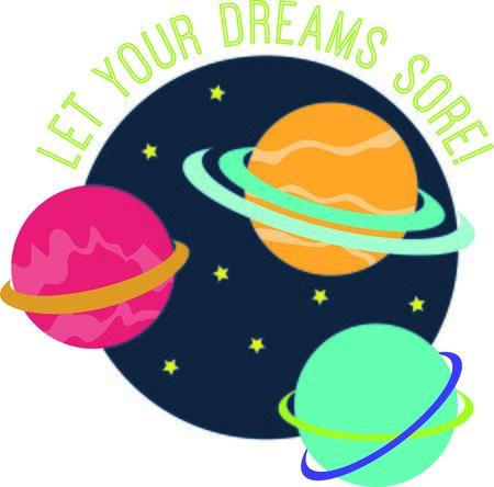 당신의 작은 우주 비행사를위한 티셔츠, 후드, 모자에 디자인, 워밍업 등으로 하늘 여행의 천체에 참여하기! 일러스트