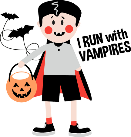 fang: This little dracula will capture the theme of the Halloween celebration. Add fun and creativity to your holiday projects with this design on clothing, throw pillows, framed embroidery and more. Illustration